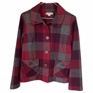 PENDLETON Pink/Red Plaid Wool Shacket Jacket MP